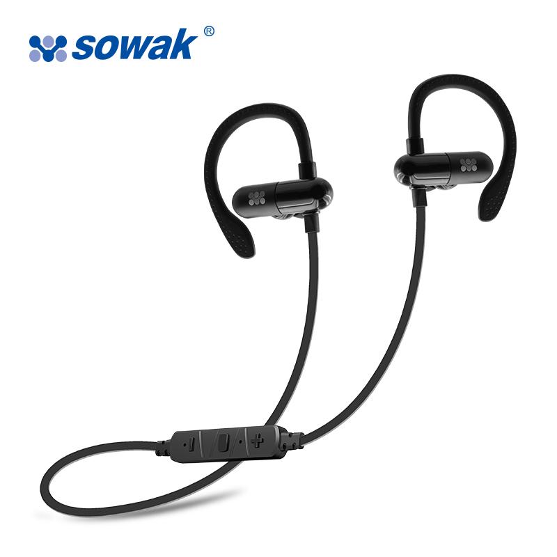 Sports Bluetooth Headset Ear Hook Headphones Sowak W1+ with Mic Dynamic Silicone Ear Pads Earphones Hybrid Technology for Phone sowak s1 sports earphones wireless bluetooth 4 1 headphones aptx hifi 3d stereo earphones with mic sports ear hook for phone