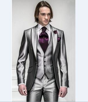 3 Piece Shiny Grey Mens Wedding Suits Groom Tuxedos Groomsman Formal Party Suits C240