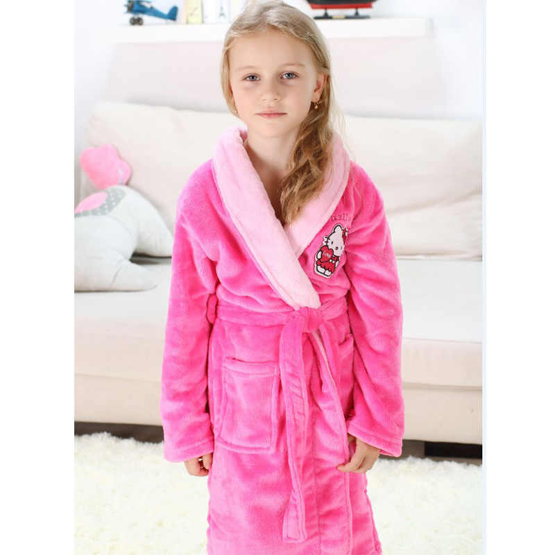 12e958bcd ... Children Robes Pajamas Thick Flannel Mickey Minnie Hello Kitty  Nightwear Robes for 4-16 Years
