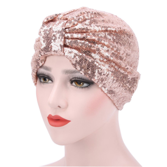 95dbbc05e5875 Women Sequins Muslim Flowers Hat Chemo Cap Hair Loss Head Scarf Wrap Hijib Cap  Sequins Decoration