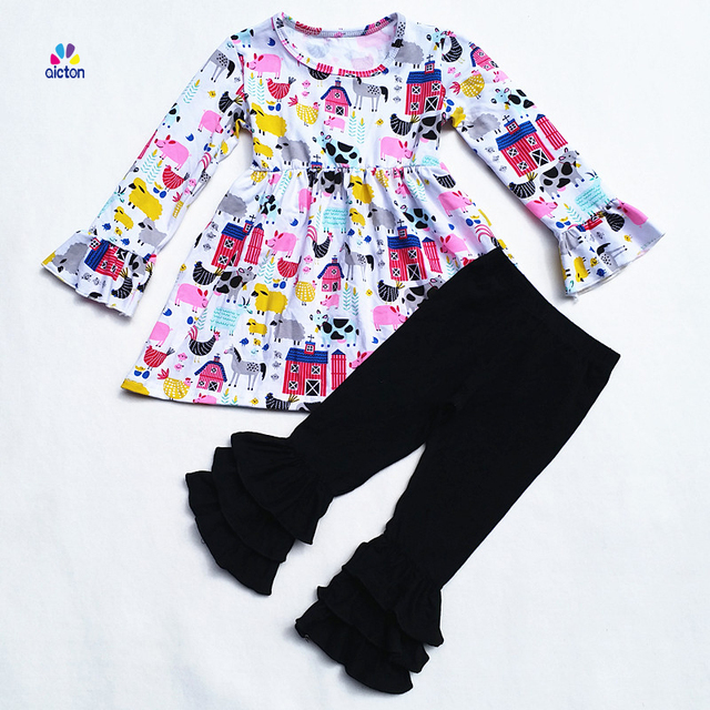 Best Sell Baby Clothes Knit Cotton Farm Print Ruffle Dress Match