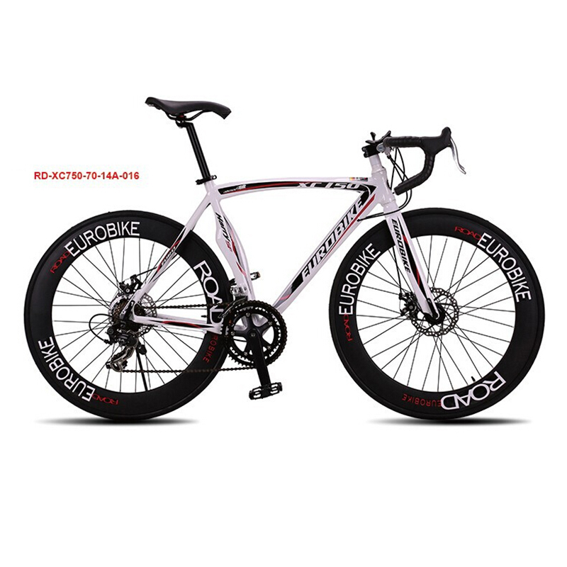 Eurobike XC740 Speed Mans Road Bike Aluminum Alloy Frame 14 Speed 700C X 23C Wheel Bicicleta Double Disc Brake Road Bicycle 70MM  new brand 14 speed racing bike 700c 50cm bike aluminum alloy frame bend bicycle cycling disc brake road bike drop shipping