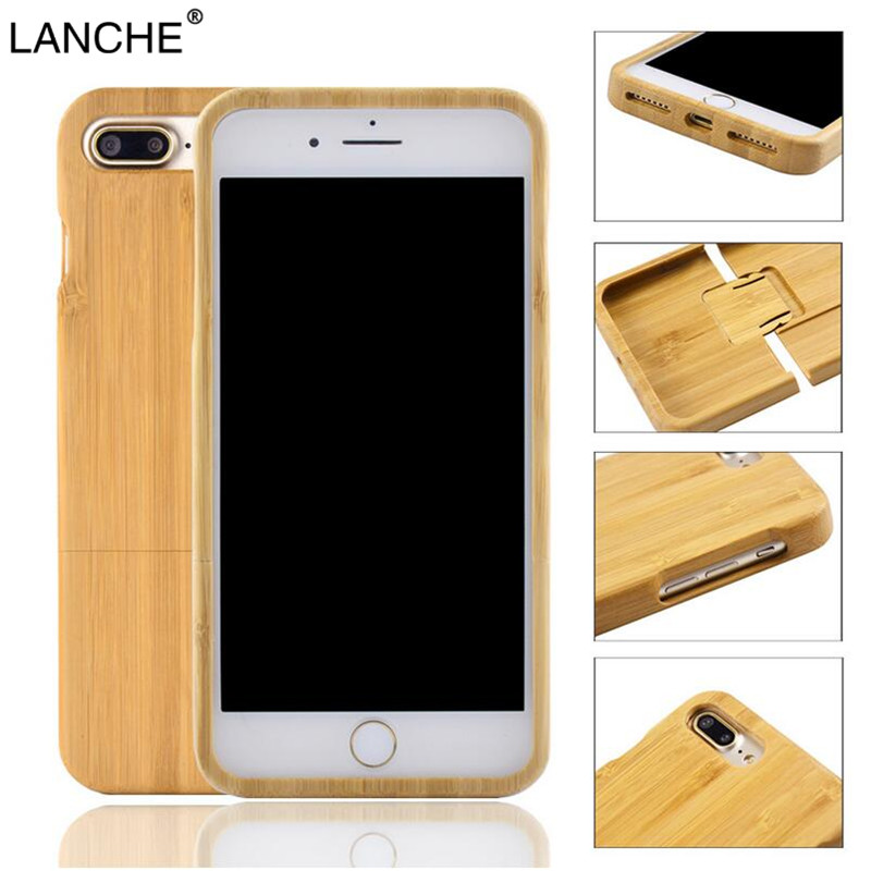 LANCHE Natural Wood Case For iPhone 7 6 6s 8 Plus 5 5s SE Case Durable Real Rosew Bamboo Walnut Wooden Phone Cover For iPhone X