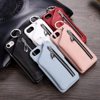 Rozomg Deluxe Zipper Genuine Leather Back Case for iPhone 6 6s 7 7 Plus 4.7 5.5 Cellphone Cover with Finger Ring Holster
