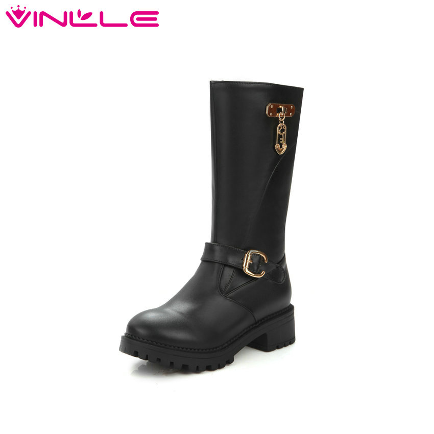 VINLLE 2016 Buckle  White Winter Women Shoes PU Square Med Heel Mid Calf Boot Slip on Snow Boots Women Fashion Boots Size 34-43 trendy low heel and double buckle design women s mid calf boots