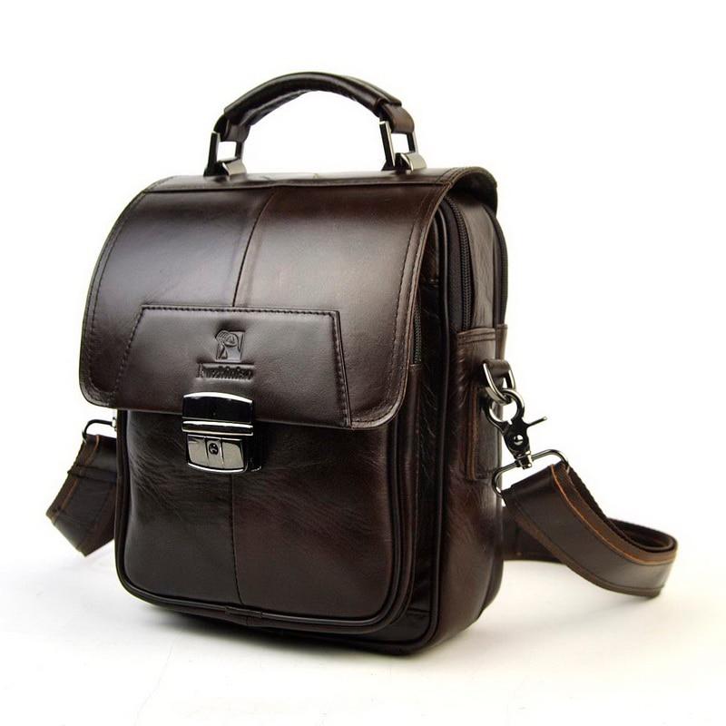 где купить Men Genuine Leather Shoulder Bag Top Handle Bags Multi Compartment Practical Satchel Cross Body Business Work Messenger Retro по лучшей цене