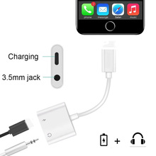 For iPhone 7 Aux Adapter 3.5mm Jack Headphone Earphones Audio Splitter Cable Charging+Music For iphone X XR XS Max 8 Plus IOS 12