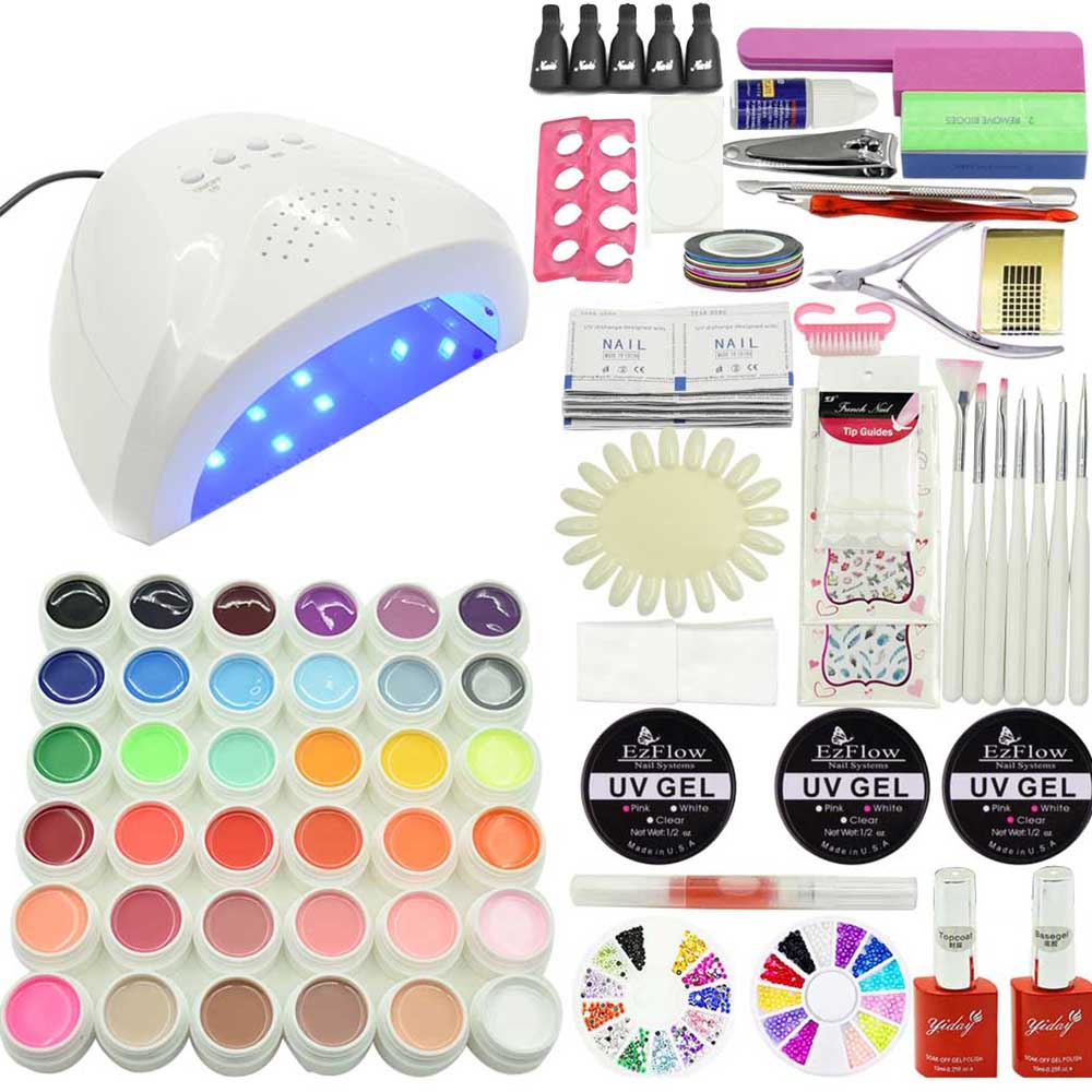 Jewhiteny 48W SUN508 UV LED lamp Nail Gel Soak-off Gel polish Top & Base Coat gel 36 colors NAIL art tools kits sets manicure nail art manicure tools set uv lamp 10 bottle soak off gel nail base gel top coat polish nail art manicure sets