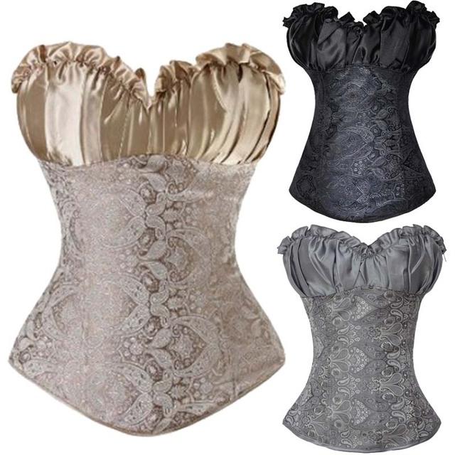 Envío gratis Lace Up volver gris plata mujeres Sexy Corset Bustier lencería Overbust Floral con tanga cuerpo Shaper faja TYQ