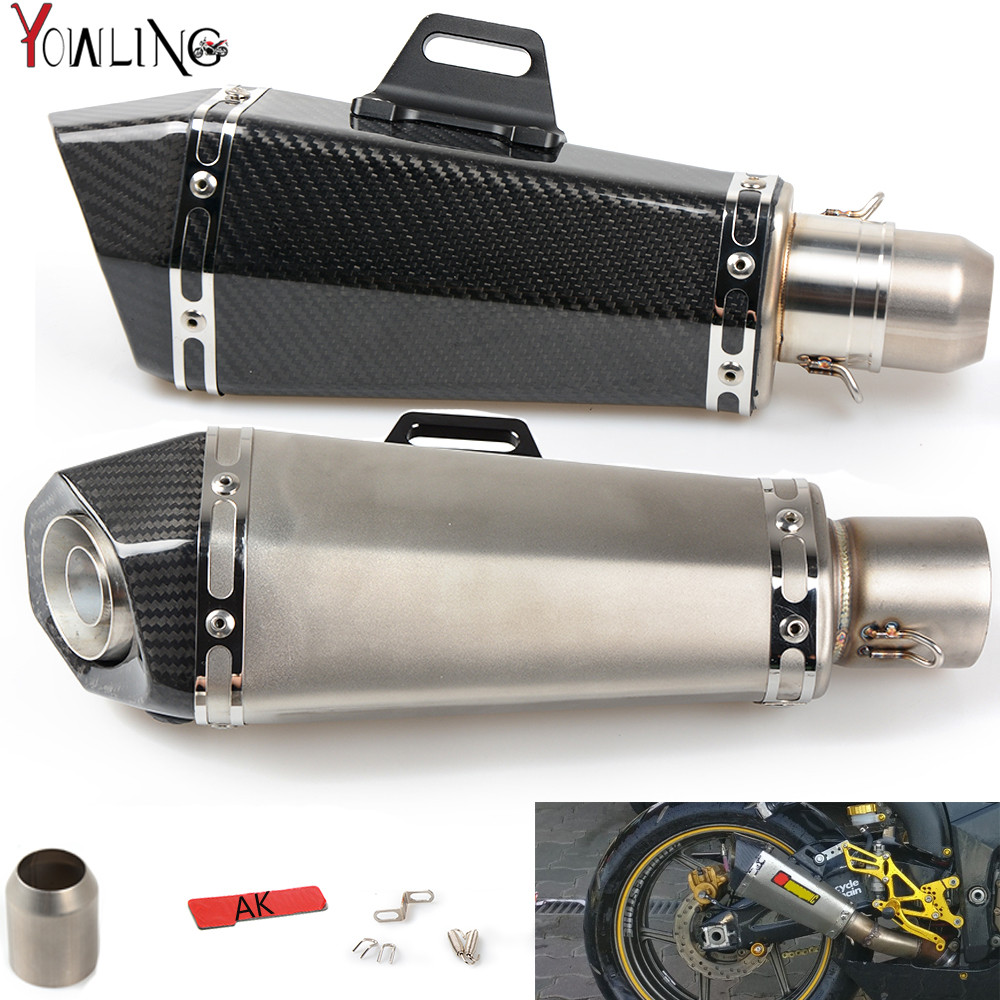 Universal Motorcycle Real carbon fiber exhaust Exhaust Muffler pipe For Yamaha mt09 Kawasaki Ducati BMW Honda Suzuki Aprilla ktm free shipping carbon fiber id 61mm motorcycle exhaust pipe with laser marking exhaust for large displacement motorcycle muffler