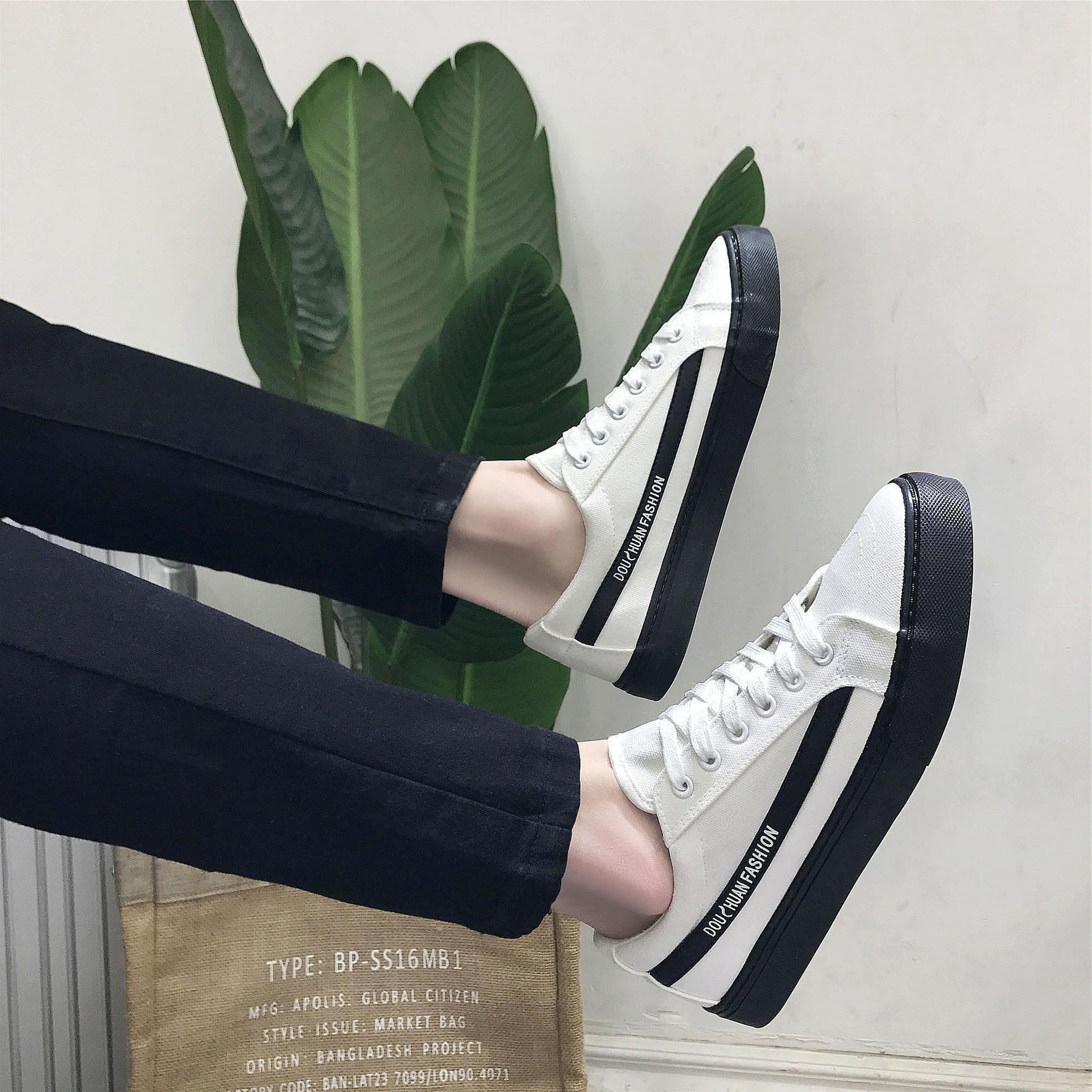 2018 Nouveau Étudiants Chaussures Noir Vulcaniser Respirant up Green Jeunes white Hommes Printemps Et Dentelle white Black Toile Mode 6811 Style Tendance Automne De rrdnZqpUA