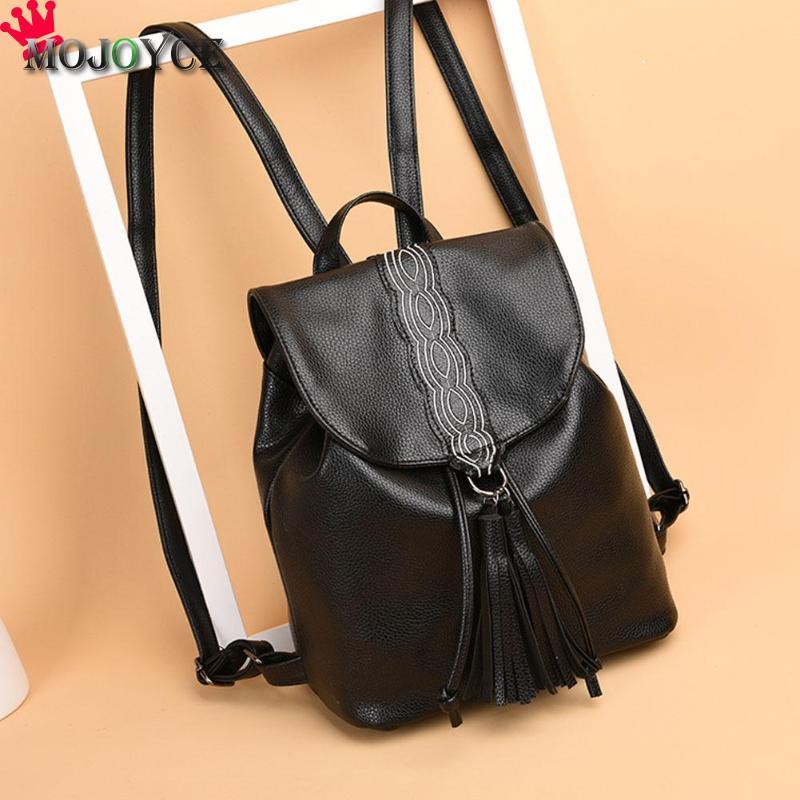 MOJOYCE Women PU Leather Travel Backpack Female Girls Solid Color Backpack Teenager Casual Tassels Drawstring Shoulder Bags