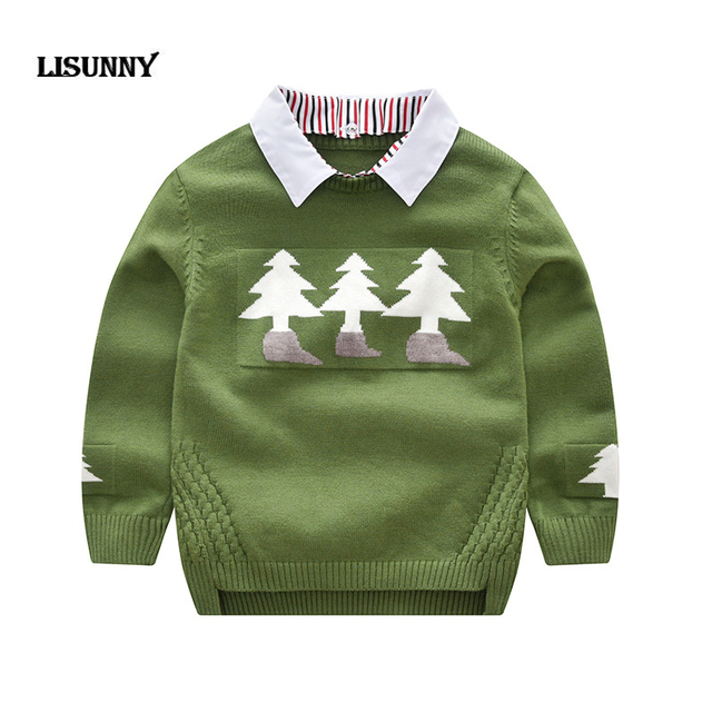 271ae83ad3b 2019 Autumn Winter New Shirt collar Plaid Kids Boys Sweater Christmas tree Children  Clothing Baby Cotton thick wool top Pullover