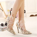 Hot Women Pumps Brand Designer High Heels Cut Outs Lace-Up Party Shoes Woman fashion sexy black Women Ladies Zapatos Mujer
