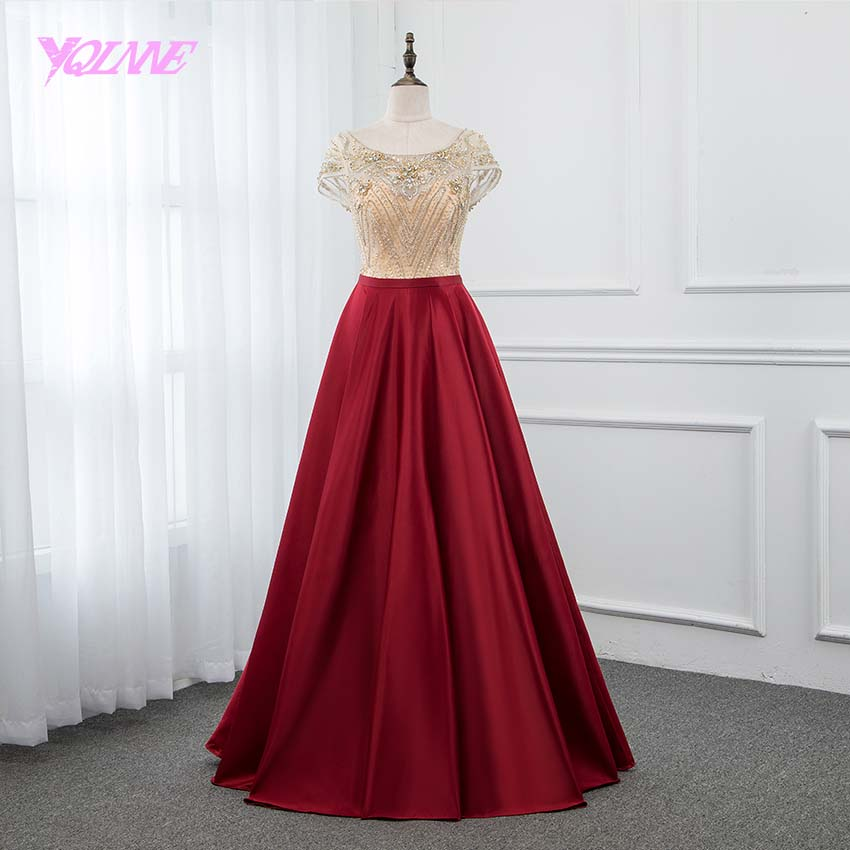 YQLNNE Red Satin Long   Prom     Dresses   2019 Crystals Beaded Back Zipper Evening Gown   Dress