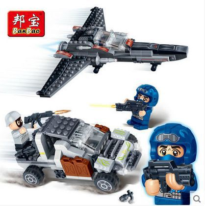 Banbao 6210 Super Police police aircraft car  295 pcs Plastic Building Block Sets Educational DIY Bricks Toys for children