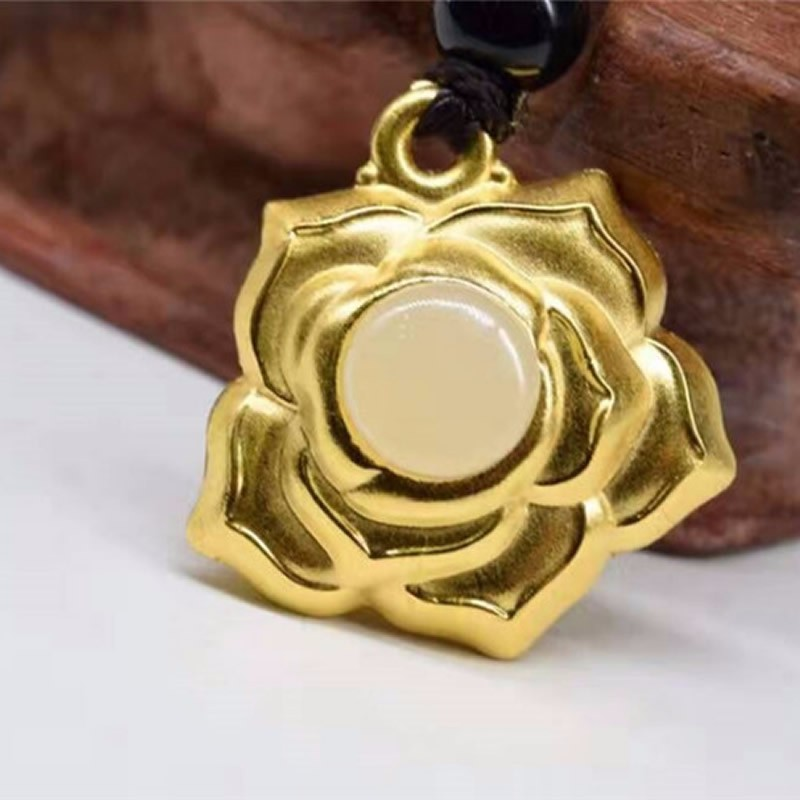 Pure 24K Yellow Gold 100% Natural /Jadeite Rose Flower Pendant pure 24k yellow gold 100% natural jadeite zodiac chicken pendant