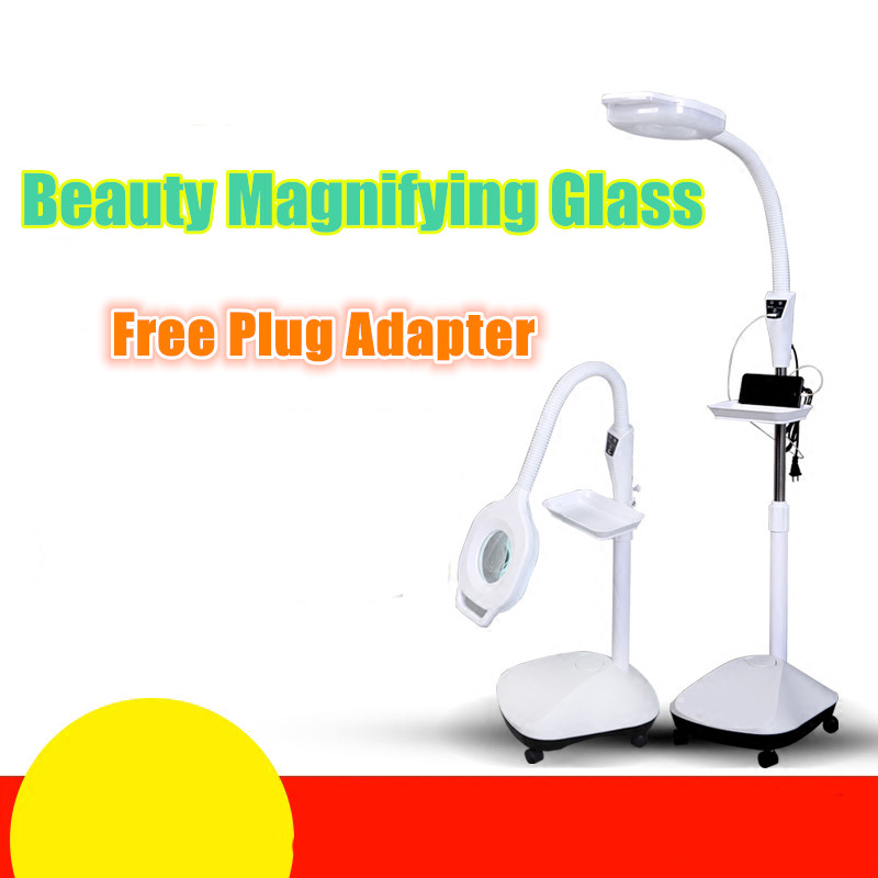220V 3X Circline LED Magnifying Glass Cold Ligth Operation USB Charger Floor Shadowless Beauty Magnifying Glass With Led Lights 220v 10x desk clip on led illuminated green optical big magnifying glass led lamp folding stand large magnifier with led lights