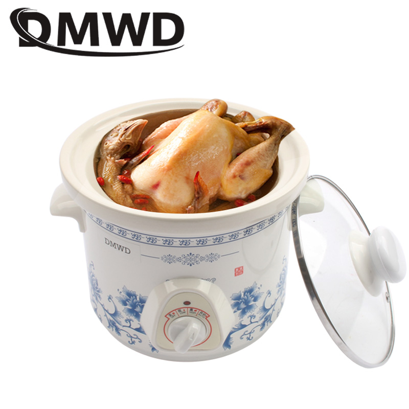 DMWD Household Electric Mini Slow Cooker 140W MINI Mechanical timer Stewing Soup Porridge Pot Ceramic food cooking machine 1.5L