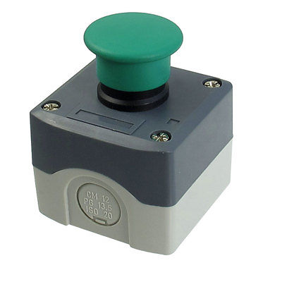 SPST NO Circuit Control Momentary Green Mushroom Push Button Switch 240V 3ASPST NO Circuit Control Momentary Green Mushroom Push Button Switch 240V 3A