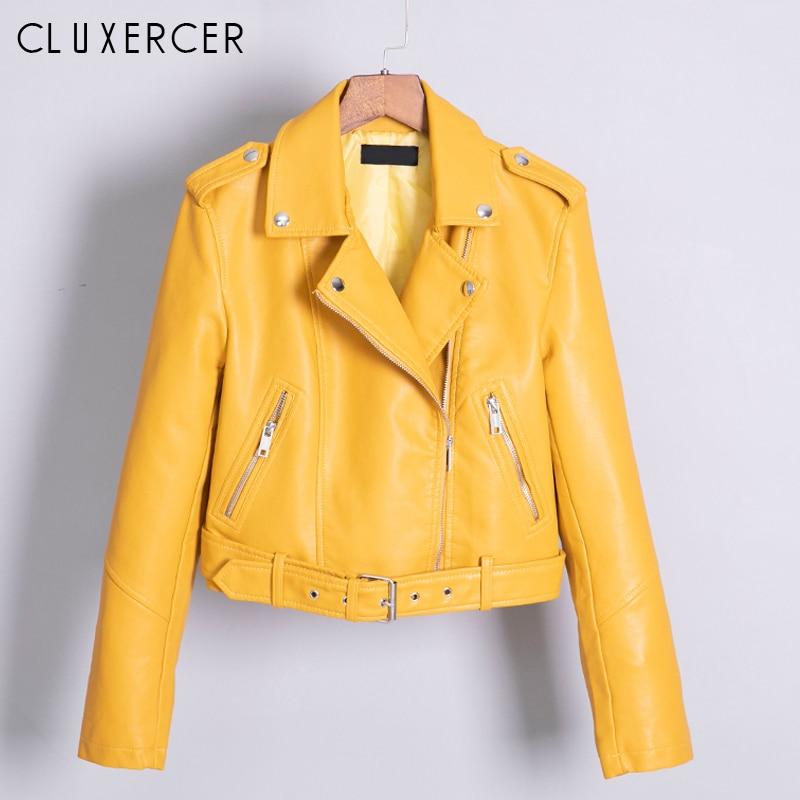 2019 New Spring Autumn Women Biker Leather Jacket Soft PU Punk Outwear Casual Moto Faux Leather