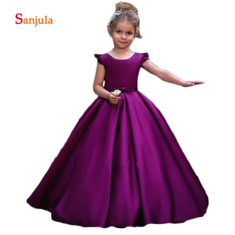 Purple Satin A-Line   Girls   Pageant Party   Dresses   Scoop Open Back with Bow   Flower     Girls     Dresses   Ruffles Cap Sleeve Party Gown SD84