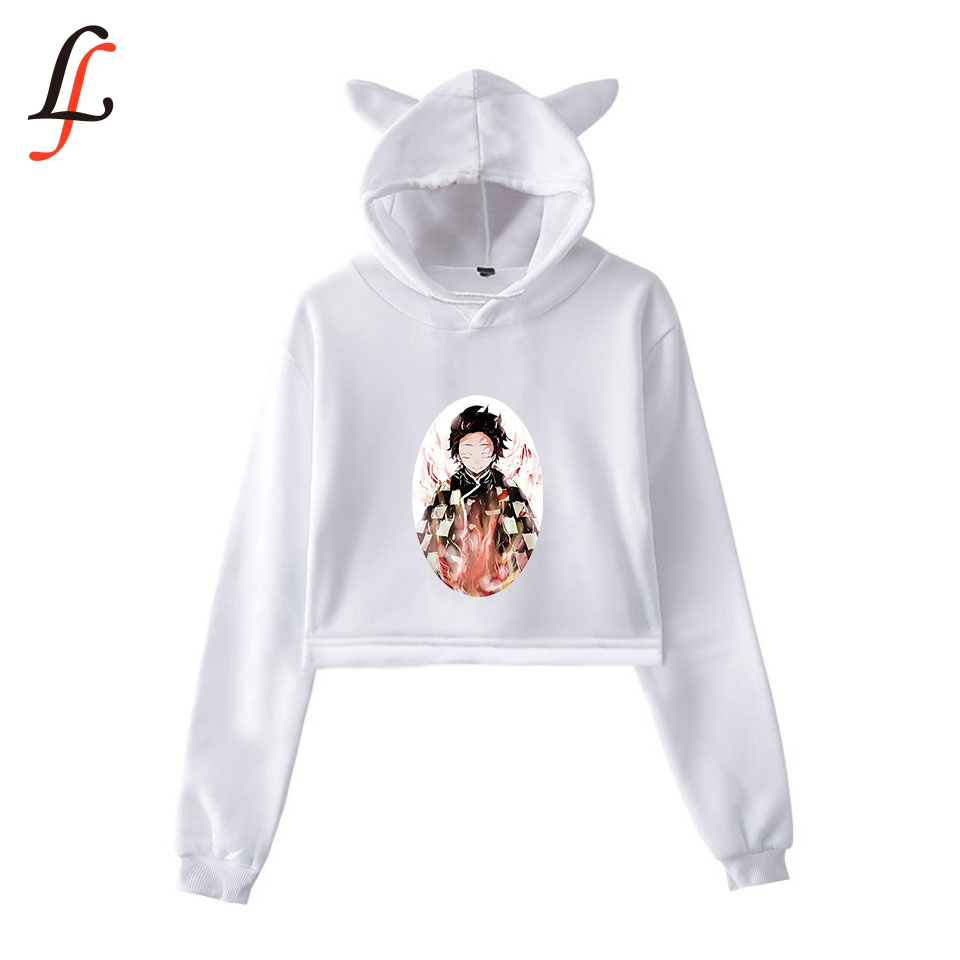 Kimetsu No Yaiba Cat Ear <font><b>Cap</b></font> <font><b>Sexy</b></font> Hoodies Fashion Trend Cat Crop Top Women Hoodies Sweatshirt Harajuku <font><b>Sexy</b></font> Hot Kpop Clothes image
