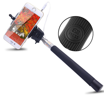 New Extendable Handheld Selfie Stick With Remote Shutter Button 3.5mm Cable Wired Selfie Monopod For Android IOS Phone 2