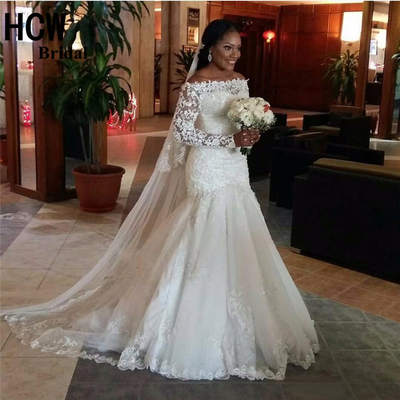 Mermaid Long Sleeve Wedding Dress 2017 African Boat Neck