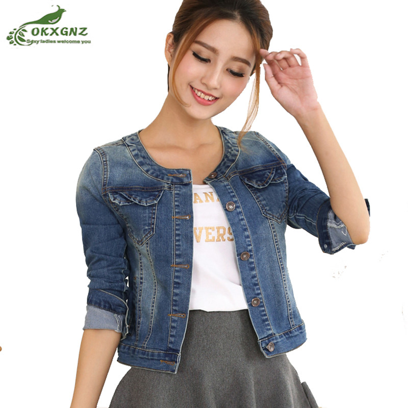 2019 Spring Denim Jacket For Women Plus Size Long Sleeve O-Neck Short Jeans Jacket Long sleeve Ladies   Coats   Jacket OKXGNZ AF1011