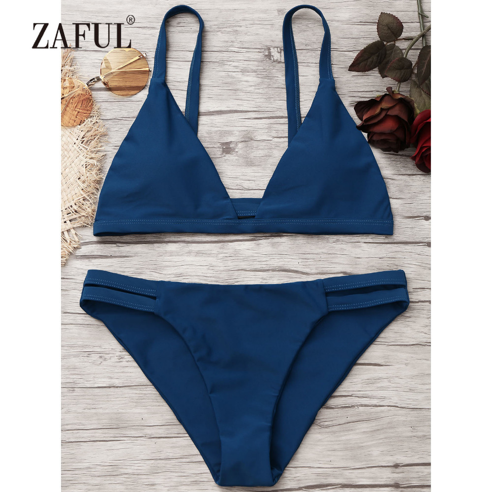 ZAFUL Women Bikini Cami Ladder Cut Ruched Bikini Set Swimwear Women Swimsuit Spaghetti Straps Two Piece Swimwear Bathing Suit sweet swan print spaghetti strap two piece swimsuit for women