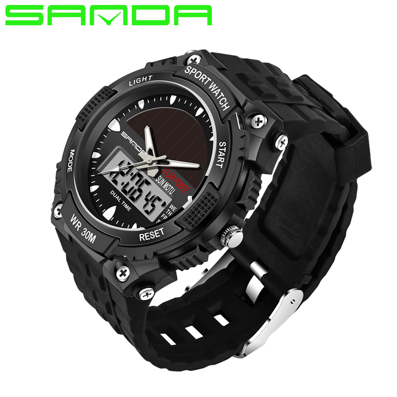2018 Men Sports Watches SANDA SOLAR POWER LED Digital Quartz Watches 3ATM Waterproof Outdoor Dress Fashion Military Watches