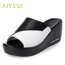 AIYUQI 2019 new summer womens slippers made of genuine leather thick heel ladies wedge platform sandal fashion sweet  flip flop
