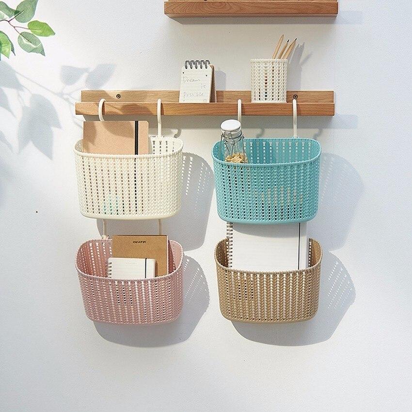 1pcs bathroom rattan hanging basket multifunction kitchen