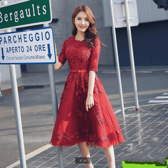 2017 real picture a line burgundy lace short petite girls prom dress ...