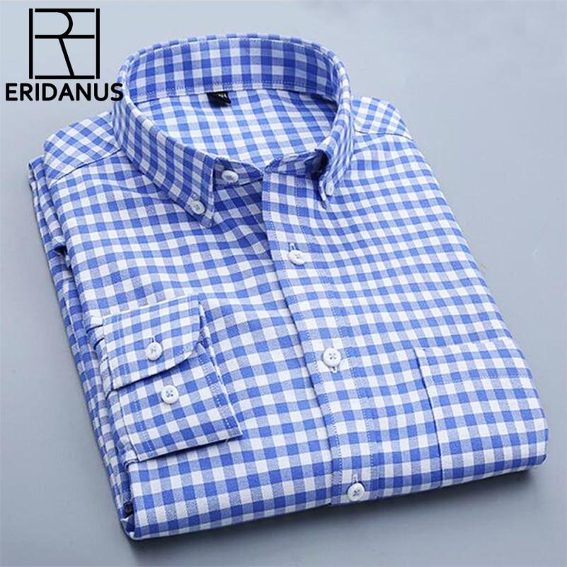 Oxford Men Shirt 2017 Brand Business Casual Long Sleeve Turn-down Collar Men's Dress Shirt Social Cotton Clothes Plus Size X089