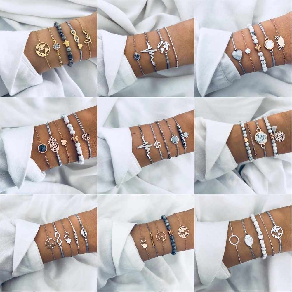 ASVX 22 Стиль 2019 богемные браслеты и Набор браслетов винтажная бусина подвеска Бохо Браслет для женщин ювелирные аксессуары