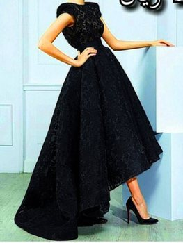 vestidos de noiva 2020  Custom Made Vintage Straps High Low Black Lace Evening Gowns Long Formal Prom Party Dress robe de soriee