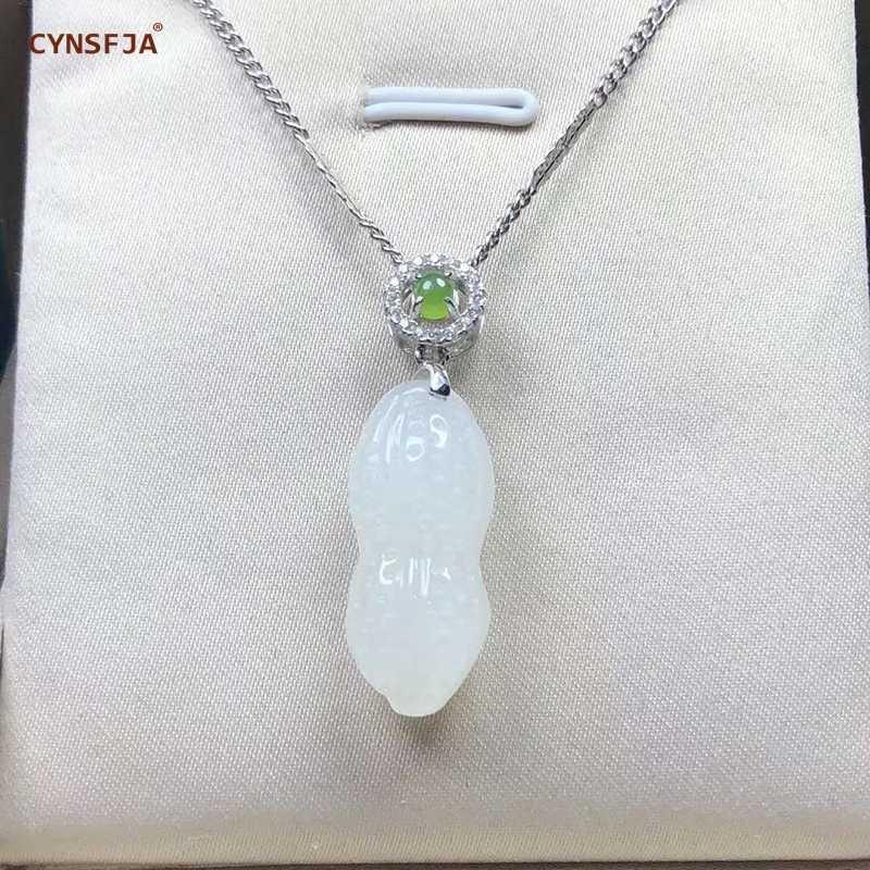 ได้รับการรับรองธรรมชาติ Hetian หยก Nephrite Charms Lucky ถั่วลิสงจี้หยกสีขาวคุณภาพสูงมือแกะสลักของขวัญที่ยอดเยี่ยม