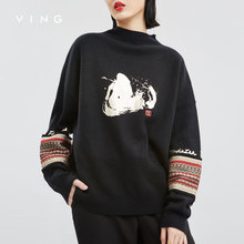 VING Blusas de Inverno Pullovers Elegantes Bordados Meia Manga Raglan Colarinho Blusas de Malha Feminina