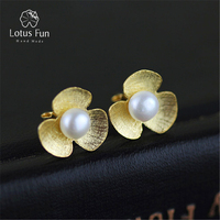 Lotus Fun Real 925 Sterling Silver Natural Pearl Handmade Fine Jewelry Fresh Clover Flower Stud Earrings