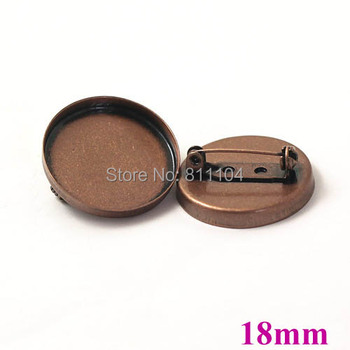 18mm Antique Copper Plated Brass Blank Round Deep Wall Bezel Tray Back Pins Brooch Bases Settings Cabochon Brooches Findings