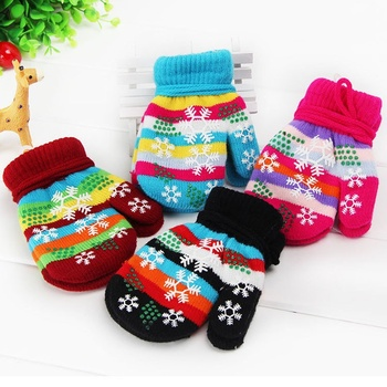1 Pair High Quality Unisex Autumn Winter Warm Touch  Knited Gloves Full Finger Mitten Gift