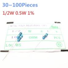 30~100pieces 1/2W  1.2M ohm 1/2W 1% Radial DIP Metal Film Axial Resistor 1.2Mohm 0.5W 1% Resistors