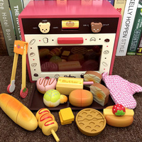 New Set Wooden Toy Pretend Play Toy Simulation Magnetic Microwave oven Wood Kitchen Food Baby Infant Toy Food Birthday Gift D92
