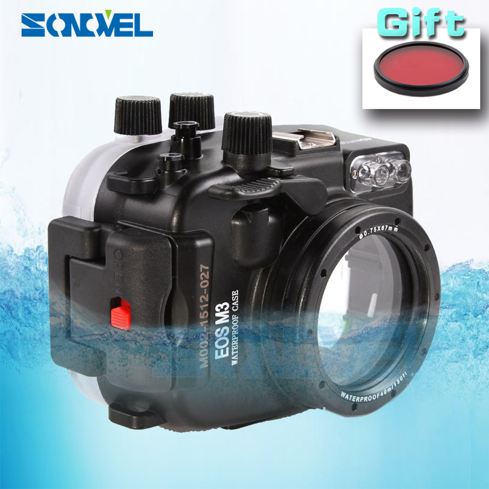 Meikon 40m 130ft Waterproof Underwater Diving shell Case Camera Housing Case For Canon EOS M3 With 22mm Lens + 67mm Red filter meikon 40m waterproof underwater camera housing case bag for canon 600d t3i