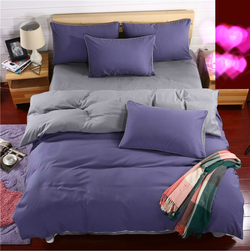 100% Aloe Cotton Sanded Reactive Dyeing Family Of Four Bedding Set Plain Solid Color Linen Quilt Blankets