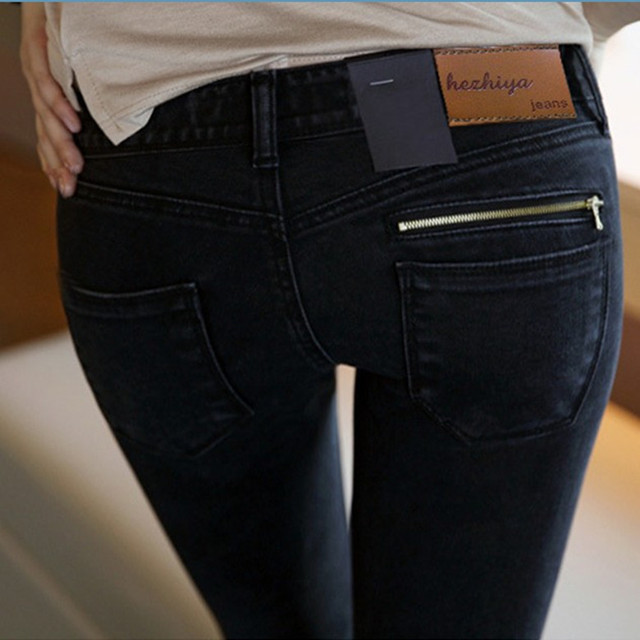 2018 новые узкие джинсы женские джинсы брюки черный заниженной талией  тонкий карандаш брюки джинсы Для женщин 758e921fbc7ff
