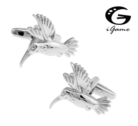IGame Bird Cuff Links Silver Color Hummingbird Design Free Shipping