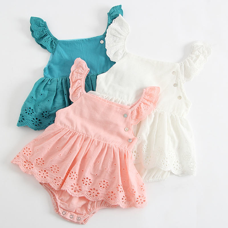 Newborn Baby Girl Romper Lace Flutter Sleeve Bodysuit One-Piece Jumpsuit Outfits Princess Clothes